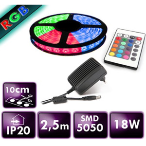 BERGE LED pásek - RGB 5050 - 2,5m - 30 LED/m - 7,2 W/m - IP20 - SADA
