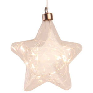 Det Gamle Apotek Glas, star w. 20 LED on string, Dia17cm