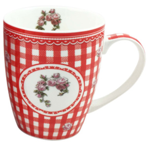 Home Elements porcelánový hrnek Elegant Red 340 ml - červené kostky