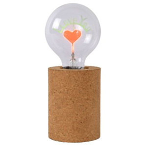 LUCIDE CORKY Table Lamp I LOVE YOU G80/E27/3W Brown, stolní lampa