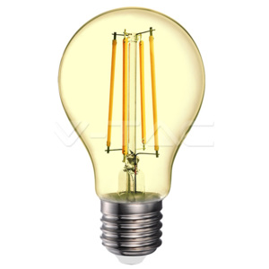 V-TAC LED Filament E27 A70 Amber Cover 2200K