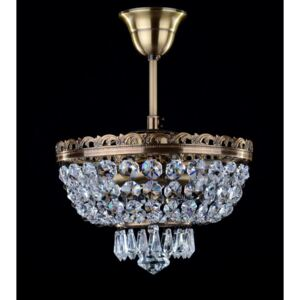2 Bulbs brown stained basket crystal chandelier with cut drops