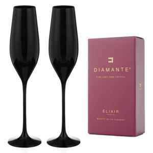 Diamante sklenice na šampaňské Ghost Black 210 ml 2KS