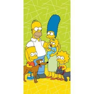 JERRY FABRICS Osuška Simpsons Family green 02 Bavlna - Froté,70/140 cm
