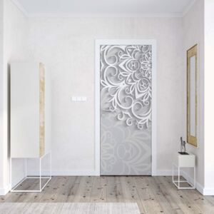 GLIX Fototapeta na dveře - 3D Ornamental Pattern White And Grey | 91x211 cm