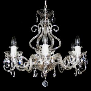6 Arms Silver crystal chamdelier with glass horns & cut crystal almonds