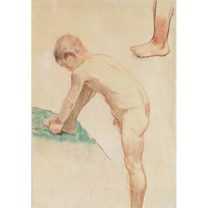 Obraz, Reprodukce - Study of a boy and a foot, 1888 (red chalk, charcoal & pastel on beige paper), Paul Gauguin