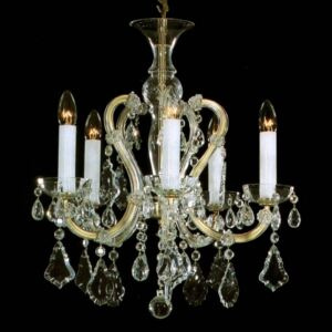 5 flames Maria Theresa crystal chandelier with cut crystal pendeloques