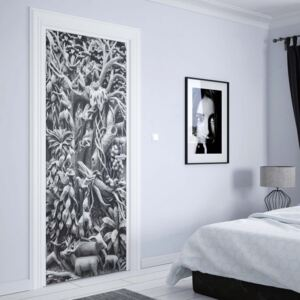 GLIX Fototapeta na dveře - 3D Carved Wood Jungle Elephants Black And White | 91x211 cm