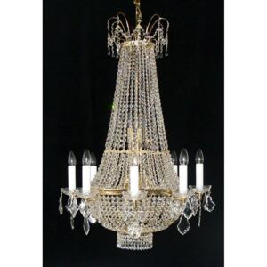 6 Arms basket crystal chandelier with Strass crystal chains - (8+5) candle bulbs