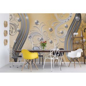 Fototapeta - Ornamental Silver And Yellow Swirl Design Vliesová tapeta - 250x104 cm