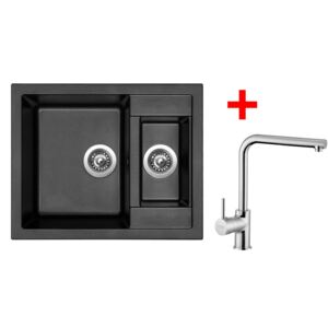 Set Sinks dřez CRYSTAL 615.1 Metalblack + baterie ELKA Chrom