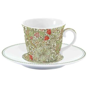 Easy Life Porcelánový šálek a podšálek William Morris Green R1106-WILG