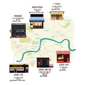Huntley, Claire - Obraz, Reprodukce - Map of Unique London Eateries and Bars