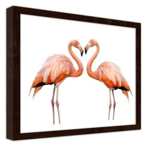 CARO Obraz v rámu - Love Of Two Flamingos 29,7x21 cm Hnědá