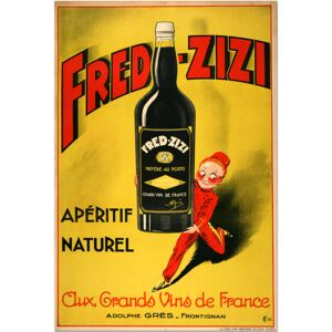 Super-home Fred Zizi, Aperitif Naturel, French Wine Poster