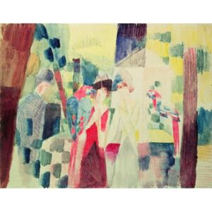 Obraz, Reprodukce - Two Women and a Man with Parrots, 20th century, August Macke