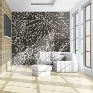 Fototapeta Bimago - Black and white floral background + lepidlo zdarma 200x154 cm