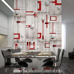 Bimago Tapeta - Concrete, red frames and white knobs role 50x1000 cm