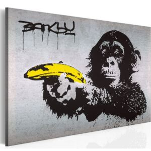 Obraz na plátně Bimago - Stop or the monkey will shoot! (Banksy) 60x40 cm