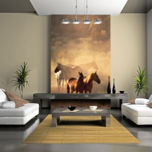 Bimago Fototapeta - Wild horses of the steppe 200x154 cm