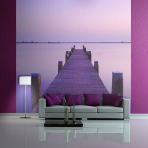 Fototapeta Bimago - Violet sunset and a bridge by a lake + lepidlo zdarma 200x154 cm
