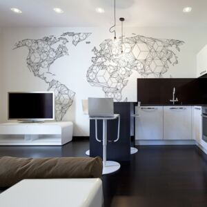 Bimago Fototapeta mapa - Map of the World - white solids 450x270 cm