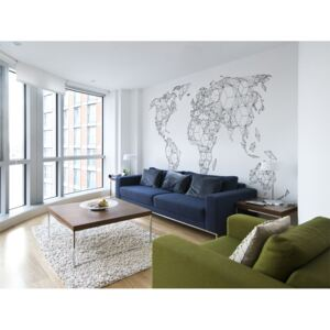 Bimago Fototapeta mapa - Map of the World - white solids 550x270 cm