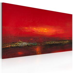 Bimago Ručně malovaný obraz - Red sunset over the sea 120x60 cm