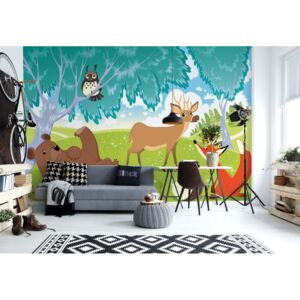 Fototapeta GLIX - Cartoon Animals In The Forest + lepidlo ZDARMA Vliesová tapeta - 208x146 cm