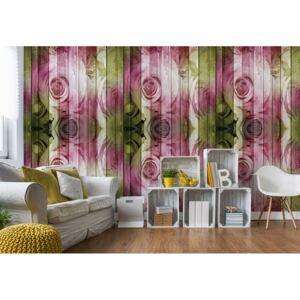Fototapeta GLIX - Roses On Wood Plank Wall Vintage