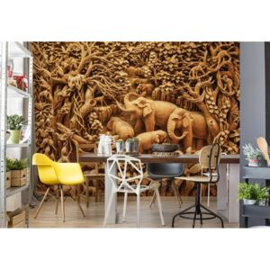 Fototapeta GLIX - 3D Carved Wood Jungle Elephants + lepidlo ZDARMA Vliesová tapeta - 208x146 cm