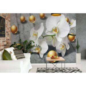 Fototapeta GLIX - Abstract 3D Yellow Balls Orchids + lepidlo ZDARMA Vliesová tapeta - 312x219 cm