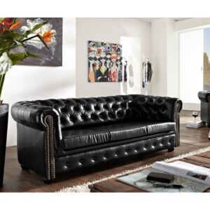 Chesterfield Bis: Pohovka 3M antique Black s puncy