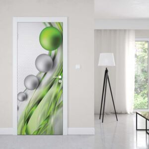 GLIX Fototapeta na dveře - Modern Abstract 3D Design Silver And Green | 91x211 cm