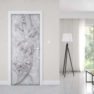 GLIX Fototapeta na dveře - 3D Ornamental Floral Design Grey And White | 91x211 cm