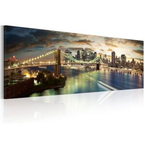 Obraz - The East River at night 120x40