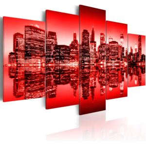 Obraz - Red glow over New York - 5 pieces 100x50