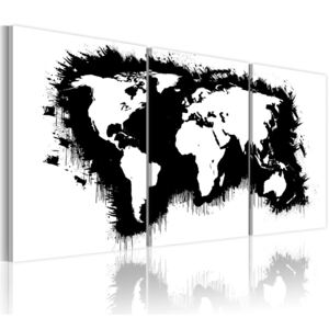 Obraz - The World map in black-and-white 60x30