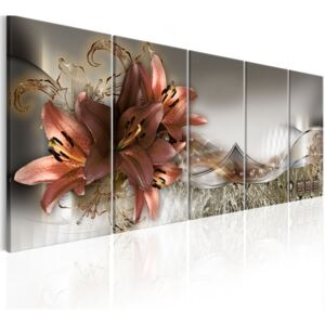 Obraz - Lilies and Abstraction 225x90