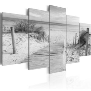 Obraz - Morning on the beach - black and white 100x50