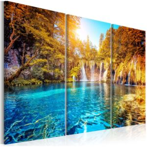 Obraz - Waterfalls of Sunny Forest 90x60