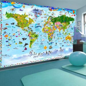 Fototapeta - World Map for Kids + zdarma lepidlo - 200x140