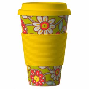 Eco Bamboo Cup Daisies Yellow 400 ml