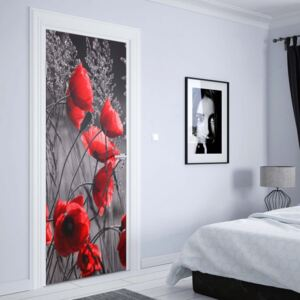 GLIX Fototapeta na dveře - Red Poppies Black And White | 91x211 cm