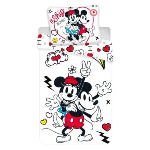 JERRY FABRICS Povlečení Mickey a Minnie Retro Heart Polyester, 140/200, 70/90 cm