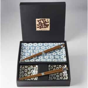 Sushi set Made in Japan Navy & White UME Design, keramika, handmade, set 4 ks