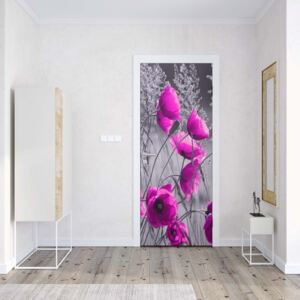 GLIX Fototapeta na dveře - Purple Poppies Black And White | 91x211 cm