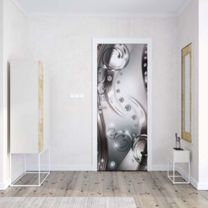 GLIX Fototapeta na dveře - 3D Luxury Silver And Diamonds Swirls | 91x211 cm