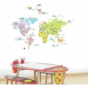Sada nástěnných samolepek Ambiance World Map for Children